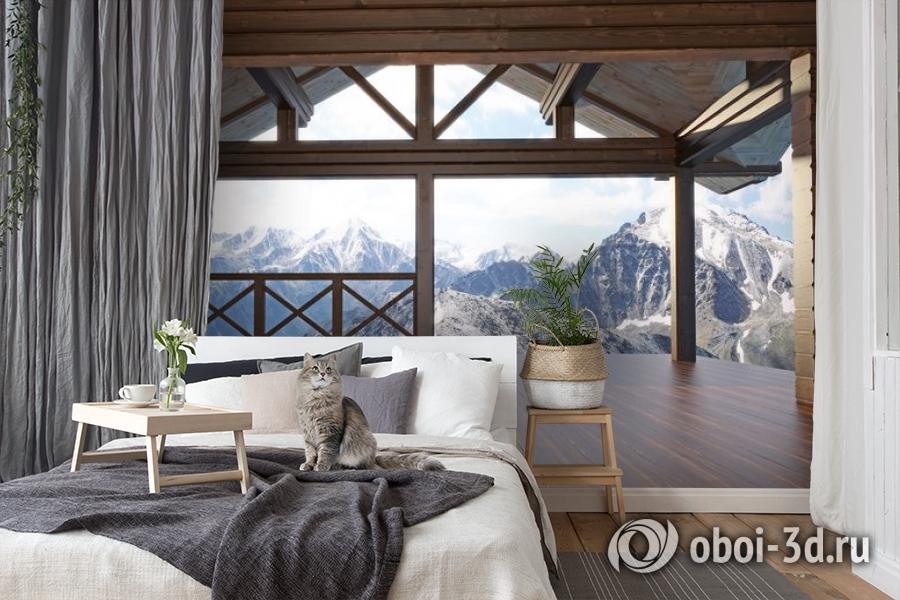 3D Фотообои «Вид с террасы альпийского шале» вид 7