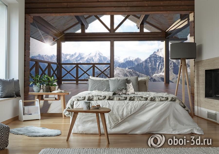 3D Фотообои «Вид с террасы альпийского шале» вид 6