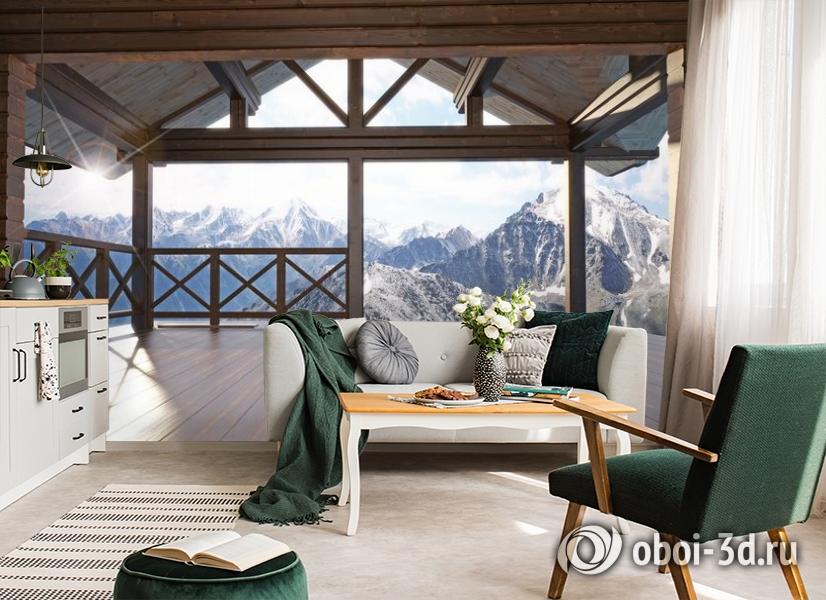 3D Фотообои «Вид с террасы альпийского шале» вид 4