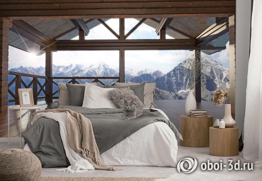 3D Фотообои «Вид с террасы альпийского шале» вид 3