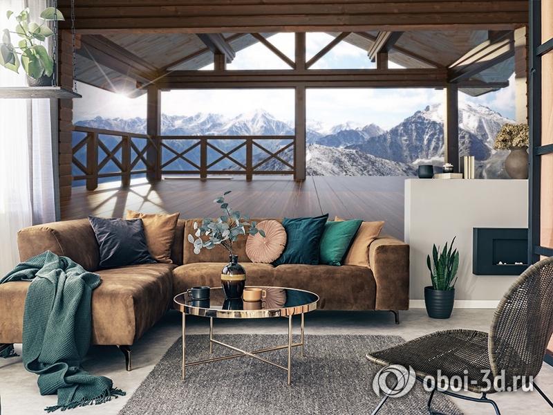 3D Фотообои «Вид с террасы альпийского шале» вид 2