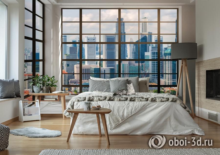 3D Фотообои «Окна с панорамным видом на город» вид 6