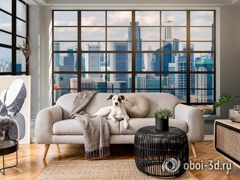 3D Фотообои «Окна с панорамным видом на город» вид 5