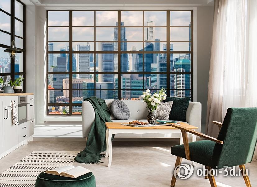 3D Фотообои «Окна с панорамным видом на город» вид 4