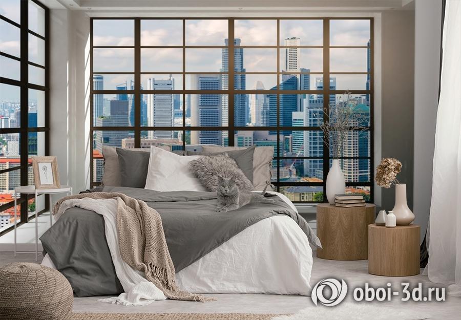 3D Фотообои «Окна с панорамным видом на город» вид 3