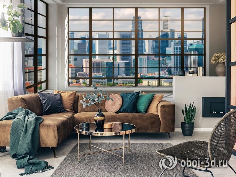 3D Фотообои «Окна с панорамным видом на город» вид 2