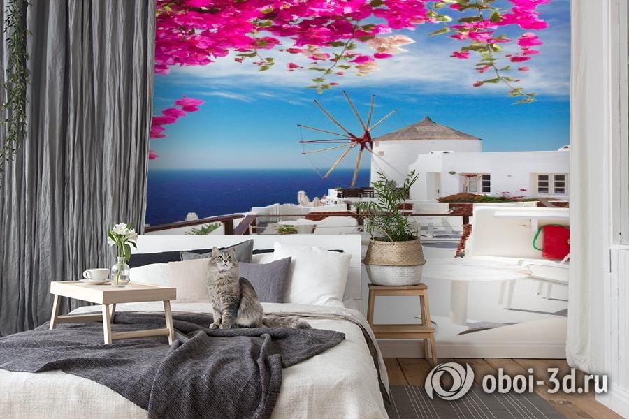 3D Фотообои «Яркие цветы на балконе. Санторини» вид 7