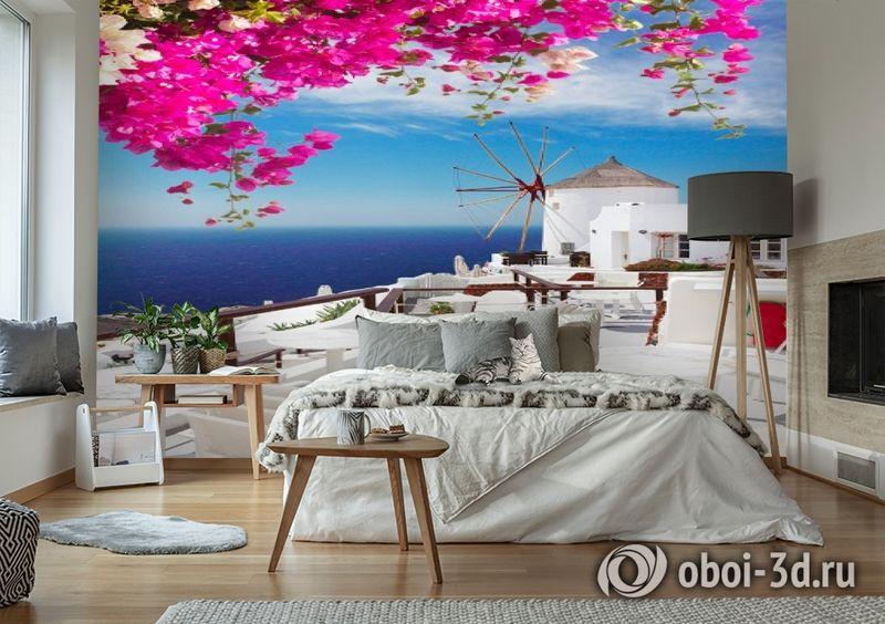 3D Фотообои «Яркие цветы на балконе. Санторини» вид 6