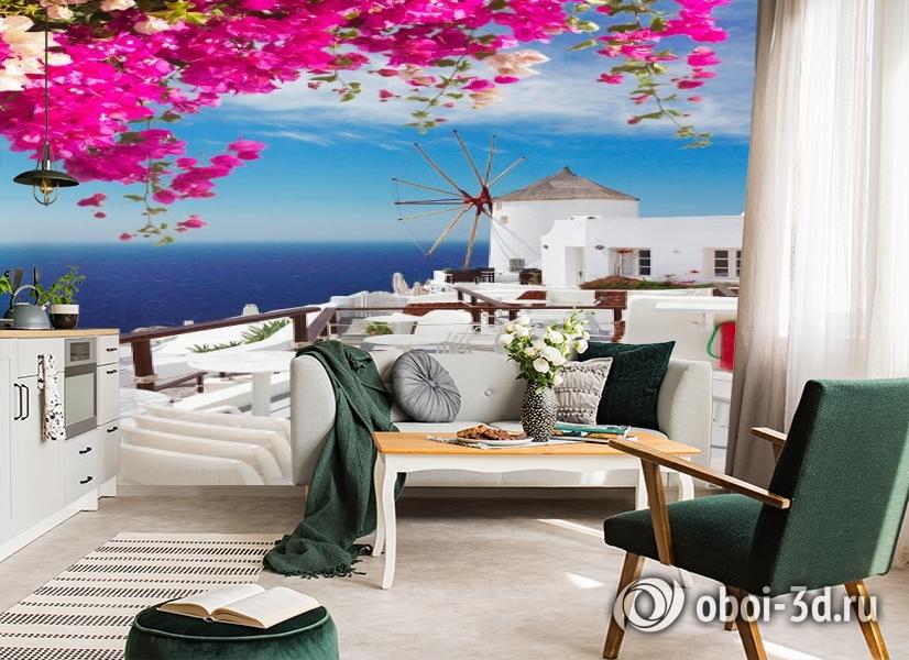 3D Фотообои «Яркие цветы на балконе. Санторини» вид 4