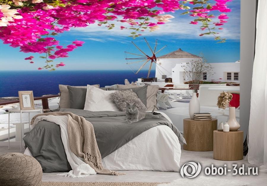 3D Фотообои «Яркие цветы на балконе. Санторини» вид 3