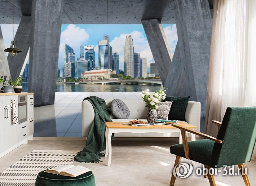 3D Фотообои «Мегаполис в холодных тонах» вид 4