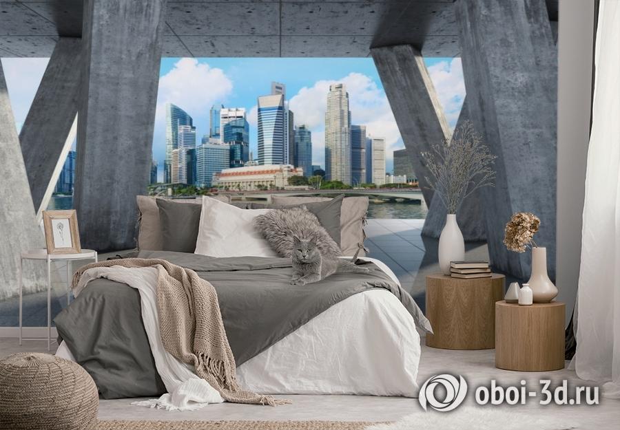 3D Фотообои «Мегаполис в холодных тонах» вид 3
