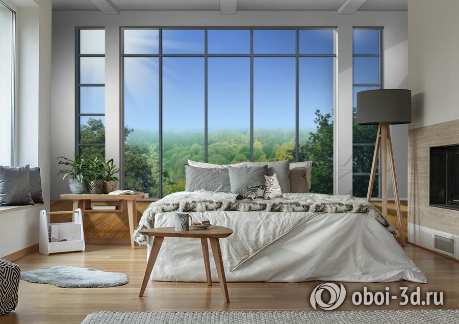 3D Фотообои «Окно с видом на зеленый лес» вид 6