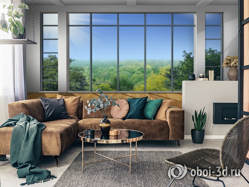 3D Фотообои «Окно с видом на зеленый лес» вид 2