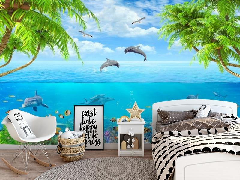 3D Фотообои «Дельфины над водой» вид 5