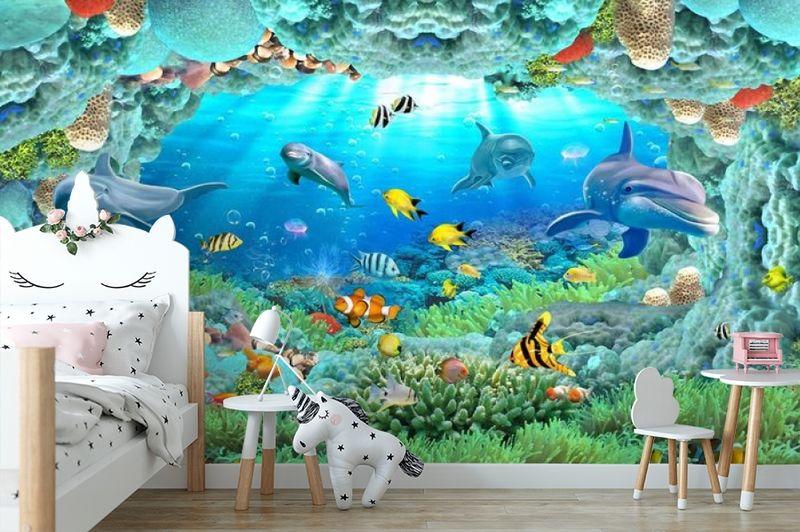 3D Фотообои «Разноцветные морские обитатели» вид 4