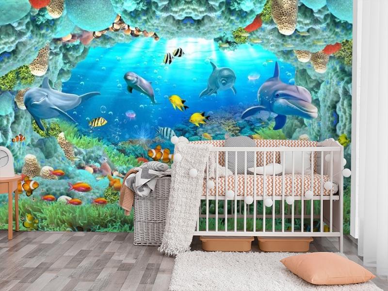 3D Фотообои «Разноцветные морские обитатели» вид 3