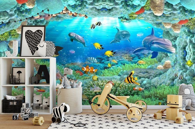 3D Фотообои «Разноцветные морские обитатели» вид 2