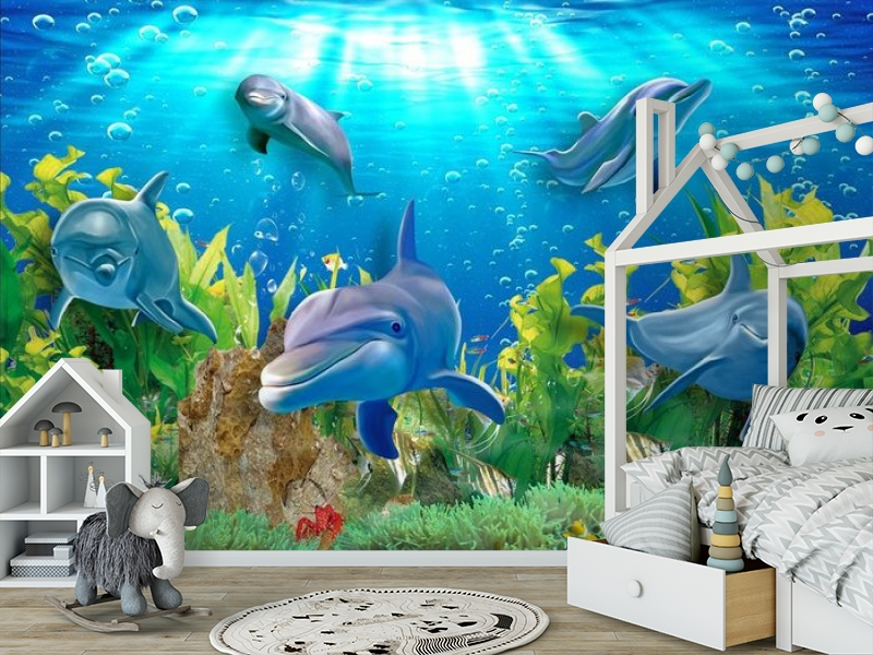 3D Фотообои «Дельфины» вид 6