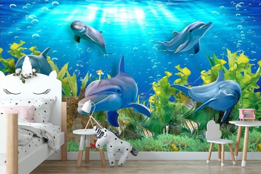3D Фотообои «Дельфины» вид 4