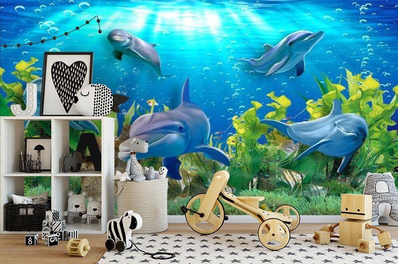 3D Фотообои «Дельфины» вид 2