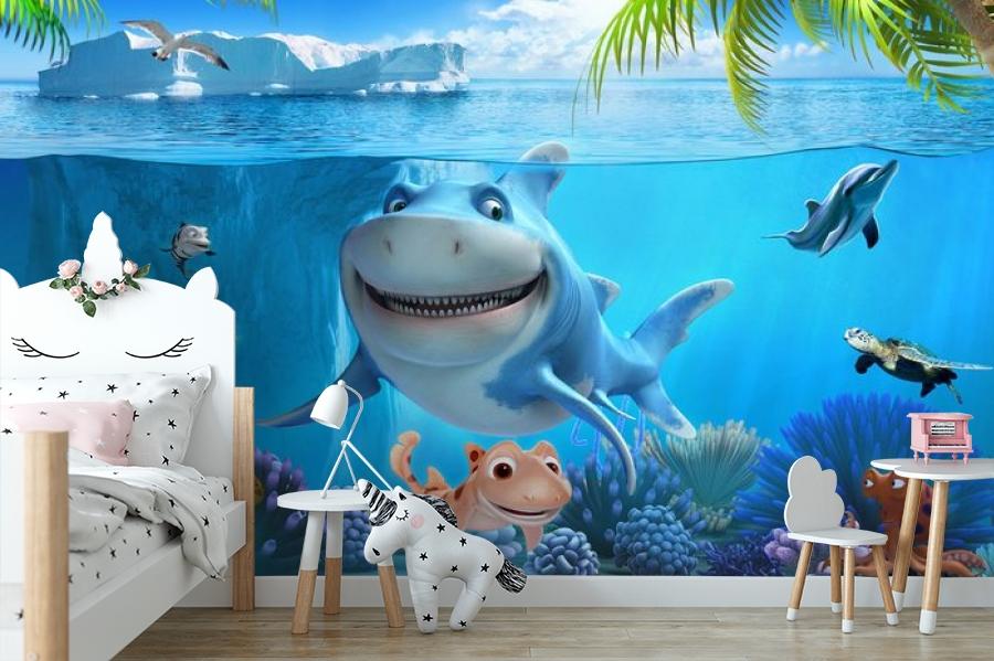 3D Фотообои «Улыбающиеся рыбки» вид 4