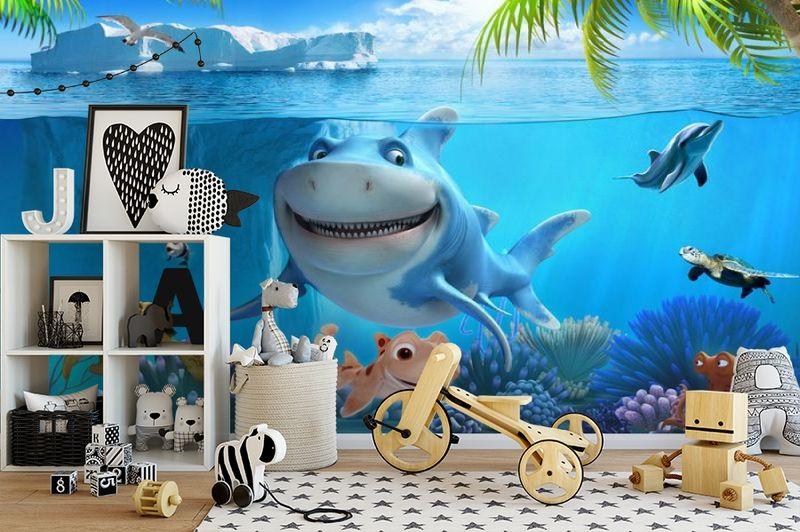 3D Фотообои «Улыбающиеся рыбки» вид 2