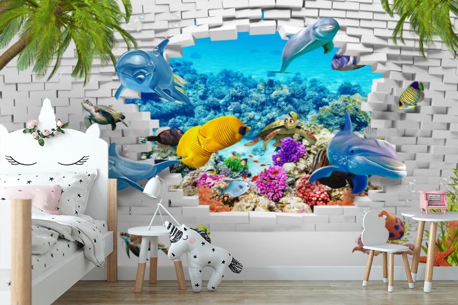 3D Фотообои «Океан за стеной» вид 4