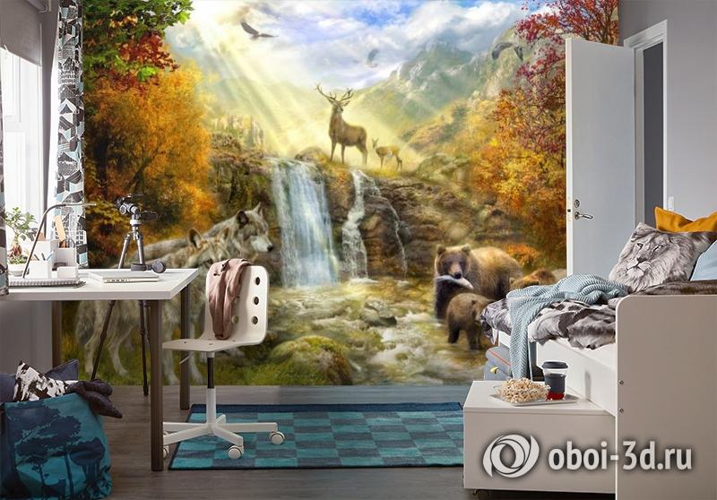 3D Фотообои «Обитатели леса» вид 4