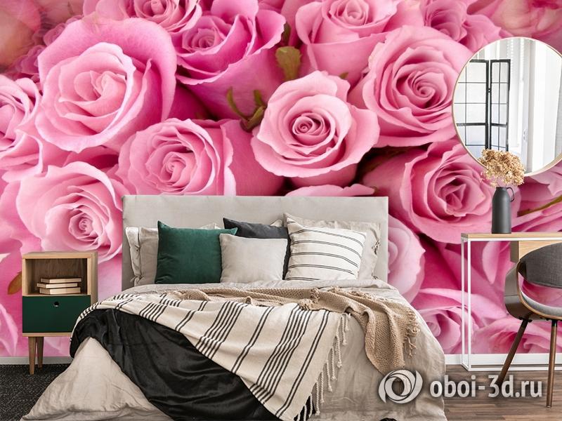 3D Фотообои «Розовые розы» вид 4