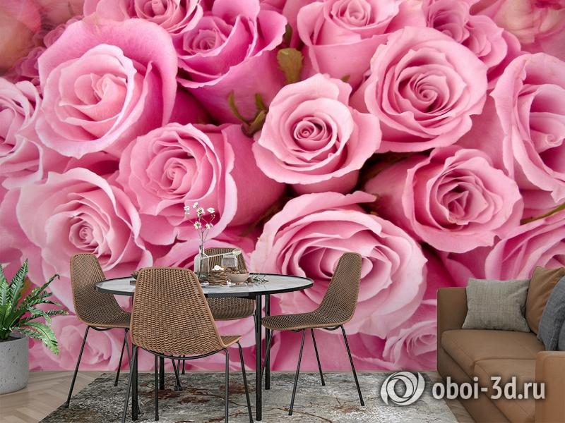 3D Фотообои «Розовые розы» вид 2