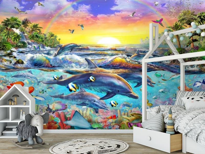 3D Фотообои «Дельфины. Сказочный остров» вид 6