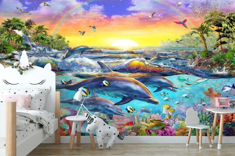 3D Фотообои «Дельфины. Сказочный остров» вид 4