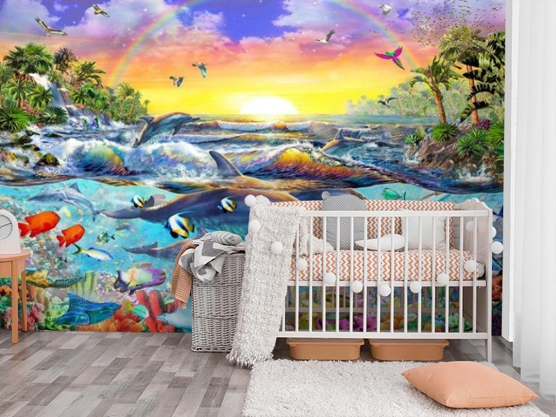 3D Фотообои «Дельфины. Сказочный остров» вид 3