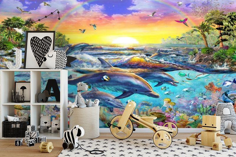3D Фотообои «Дельфины. Сказочный остров» вид 2