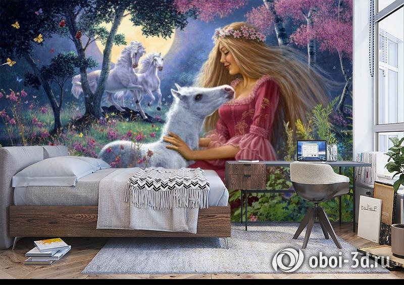 3D Фотообои «Принцесса с жеребенком» вид 5