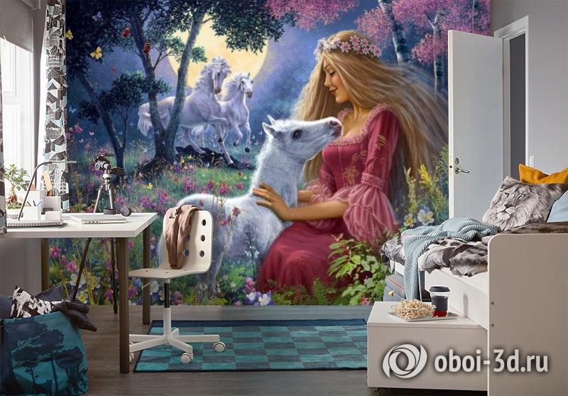3D Фотообои «Принцесса с жеребенком» вид 4