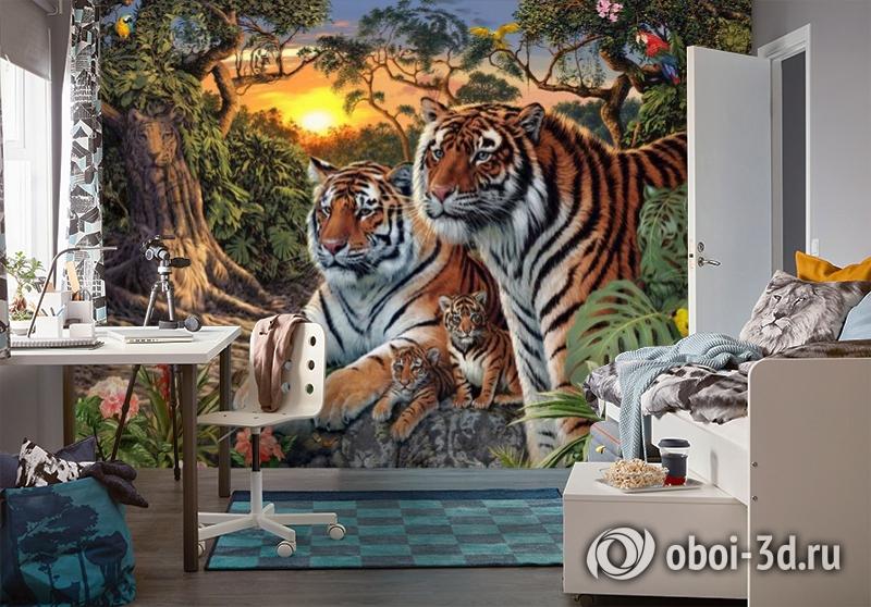 3D Фотообои «Тигриная семья. Закат» вид 4