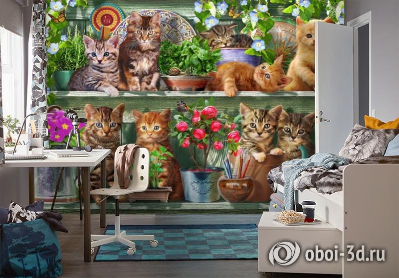 3D Фотообои «Озорные котята» вид 4