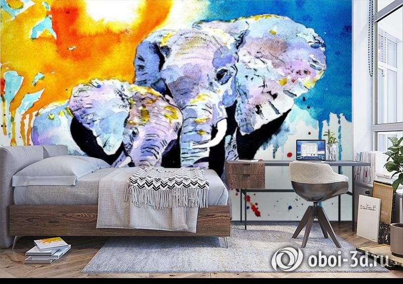 3D Фотообои «Слоны. Акварель» вид 5