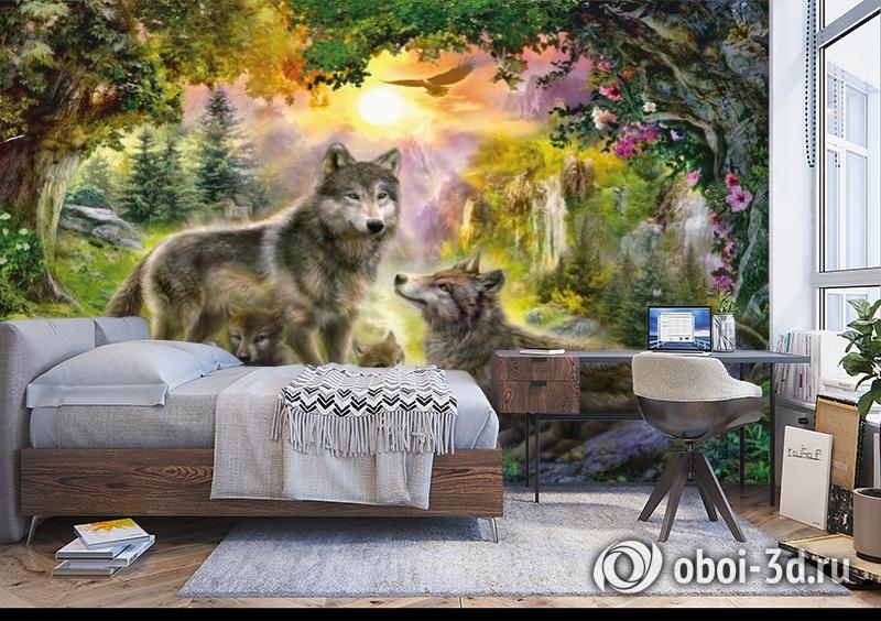 3D Фотообои «Волки в лесу» вид 5