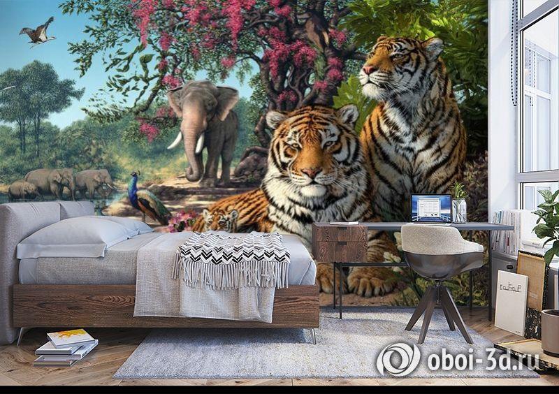 3D Фотообои «Тигриное царство» вид 5
