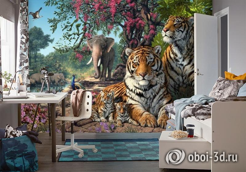 3D Фотообои «Тигриное царство» вид 4