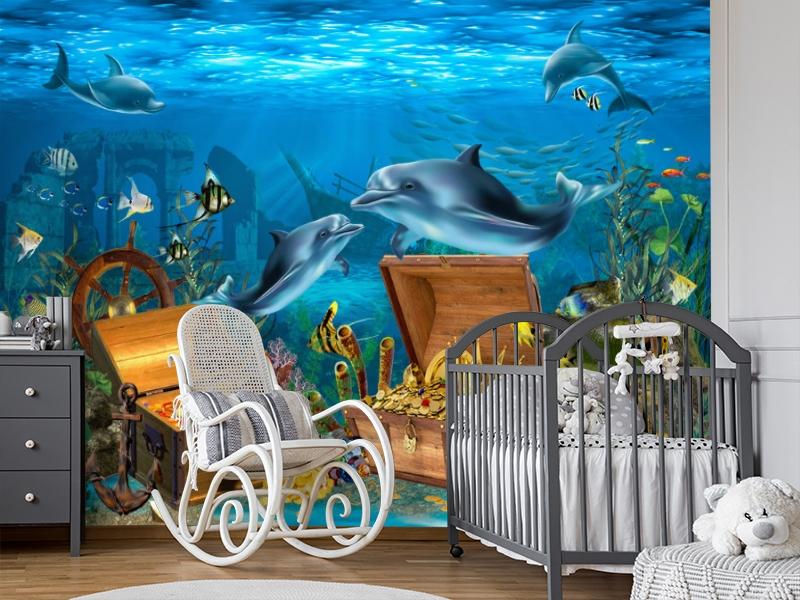3D Фотообои «Дельфины кладоискатели» вид 7