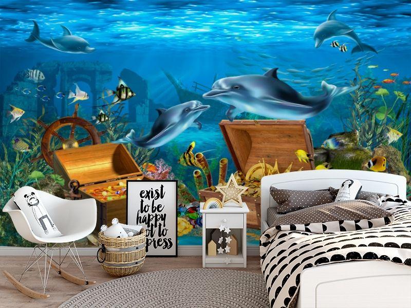 3D Фотообои «Дельфины кладоискатели» вид 5