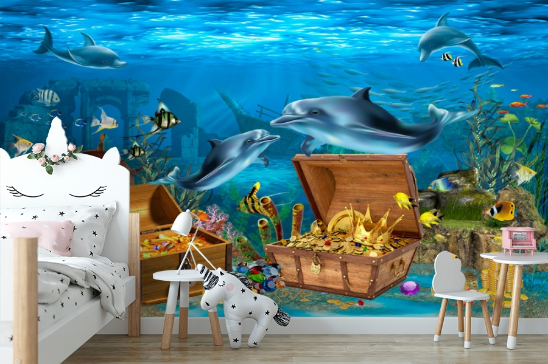 3D Фотообои «Дельфины кладоискатели» вид 4