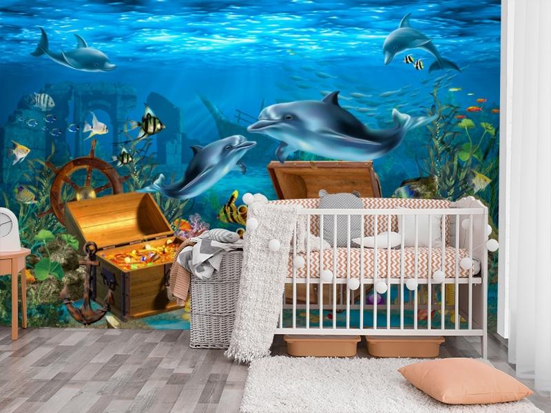 3D Фотообои «Дельфины кладоискатели» вид 3