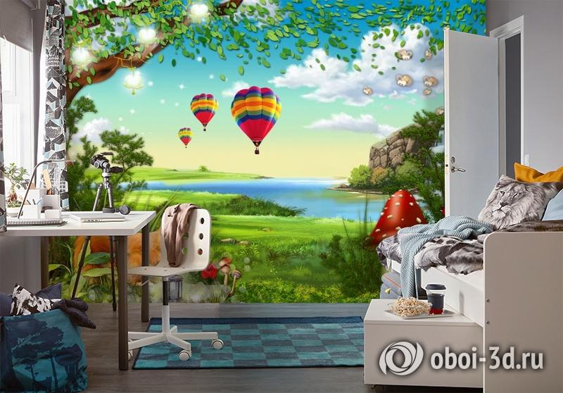 3D Фотообои «Воздушные шары в долине» вид 4