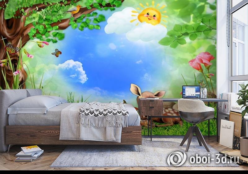 3D Фотообои «Бэмби на лужайке» вид 5