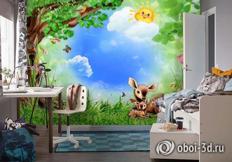 3D Фотообои «Бэмби на лужайке» вид 4